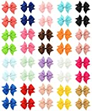 QandSweat 4 Inch Hair Bows Grosgrain Ribbon Forked Tail  Bow Alligator Clips For Baby Girls Teens Toddlers and Womens 40 Pack