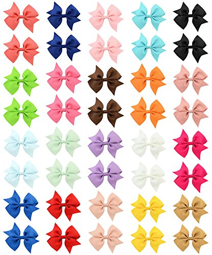 4in Bow - QandSweat 4 Inch Hair Bows Grosgrain Ribbon Forked Tail  Bow Alligator Clips For Baby Girls Teens Toddlers and Womens 40 Pack
