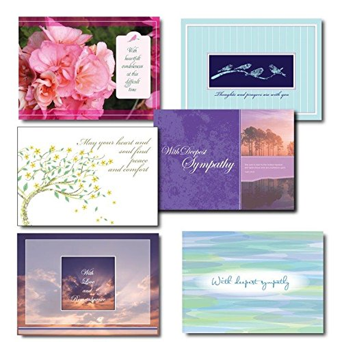 Six Design Sympathy Card Assortment. A variety boxed set of 30 cards and 31 envelopes. Five each of six different designs and messages. Suitable for friends, family or business associates. Your satisfaction is guaranteed.