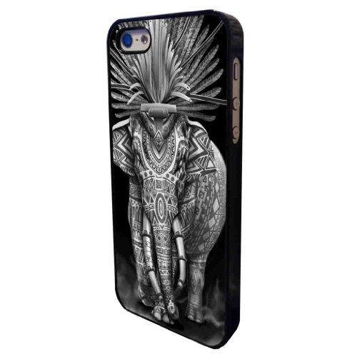 iphone 5 5S Aztec Indian Elephant Cool Funky Design Hülle Case Back Cover Metall und Kunststoff