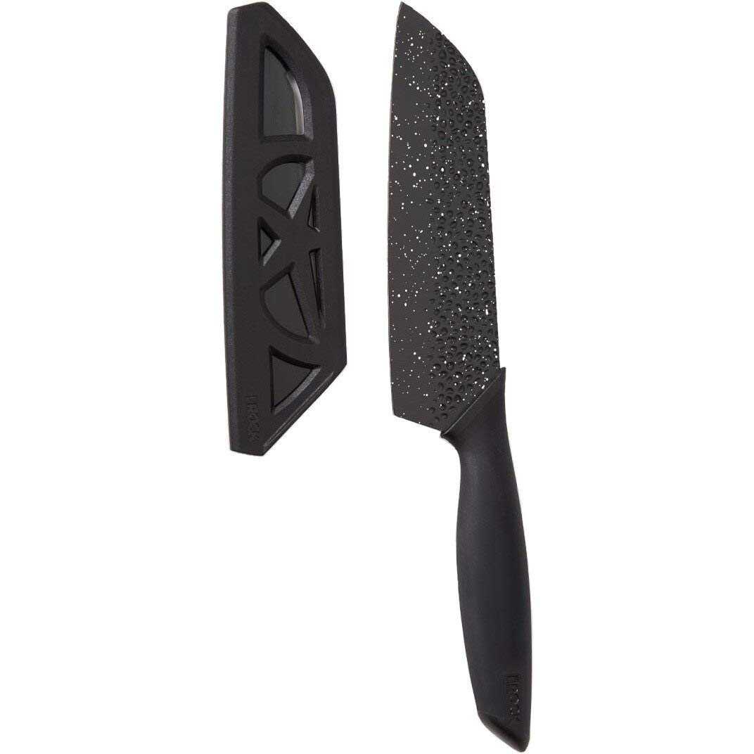 Starfrit 092892-006-0000 Rock Santoku Knife, with Sheath, 16.5'', Black by Starfrit