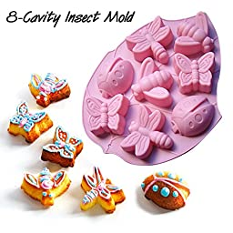 Goldenwide® BIG Combo for Silicone Handmade Soap Cake Mold - Included 12-cavity Flowers Mold, 6-cavity Flowers Silicone Muffin Mold and 8-cavity Insect Silicone Cake Mold