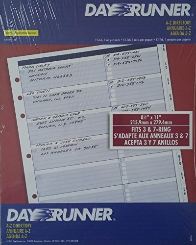 Day Runner Refill A-z Directory 8 1/2 X 11 409-190 Fits 3 & 7 Ring Binders (Refill Ring Three Binder)