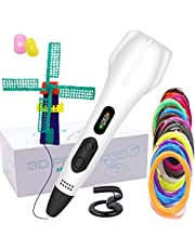 3D Pen Upgrade Intelligent 3D Printing Pen Smoother Experience 3D Art Printing Printer Pens with LCD Screen Automatic Feeding Include 12 Colors PLA Filament Refills Gifts for All Age