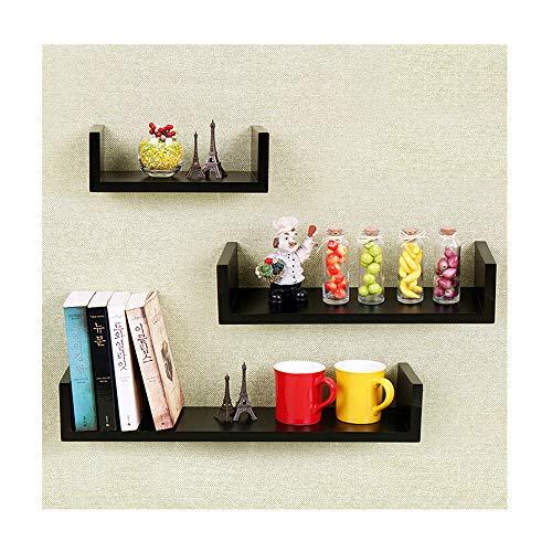 Deluxe Walnut Cube - Kimanli Set of 3 Floating U Shelves in Walnut Finish Space-Saving Wardrobe Storage Cabinet Chests Organizer Portable