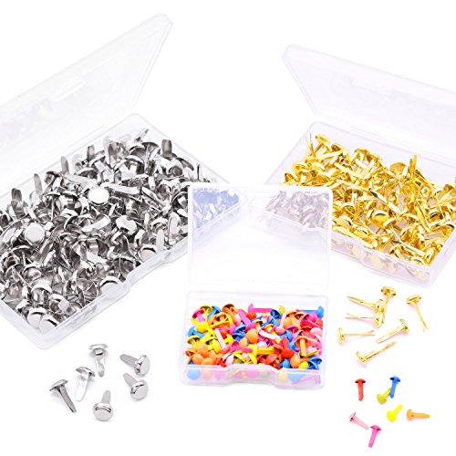 WXJ13 3 Sizes Round Head Paper Fasteners Metal Brads for Office Supplies, DIY Making, 3 Pack (350 Pieces) ()