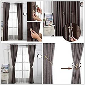 IHC Window Curtain Buckle Tiebacks Clips VS Strong Magnetic Tie Band Home Office Decorative Drapes Weave Holdbacks Holders European Style 1 pair (Beige)