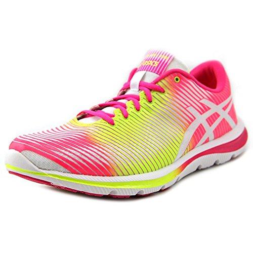 ASICS Women's GEL-Super J33 Running Shoe,White/Flash Yellow/Hot Pink,6.5 M US