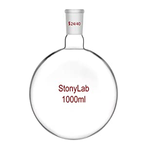 StonyLab Glass 1000ml Short Neck Round Bottom Flask, Borosilicate Glass Single Neck Heavy Wall Flask RBF with 24/40 Standard Taper Outer Joint - 1000ml