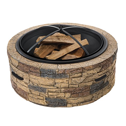 SunJoe SJFP28-STN-CL Fire Wood Burning 28-Inch Classic Stone