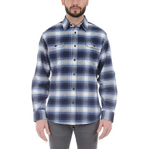 Jachs Men's Brawny Heavyweight Flannel Button Down Shirt (XL, Blue/White) ()