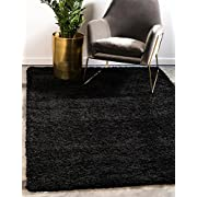 Unique Loom Solo Solid Shag Collection Jet Black Plush Area Rug (5 x 8)