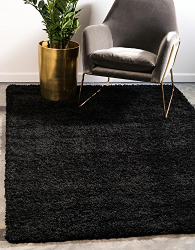 Unique Loom Solo Solid Shag Collection Modern Plush Jet Black Rectangle (8' x 10') (Solid Black Area Rug)