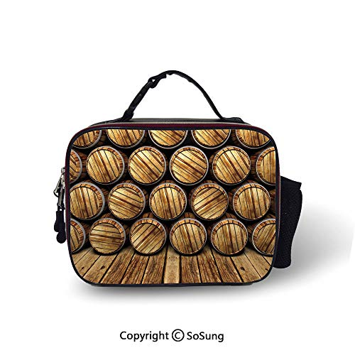Man Cave Decor Leakproof Reusable Insulated Cooler Lunch Bag Wall of Wooden Seem Barrels Cellar Storage Winery Rum Container Stack Picnic Hiking Beach Lunch bag,10.6x8.3x3.5 inch,Broen Light - India Rum