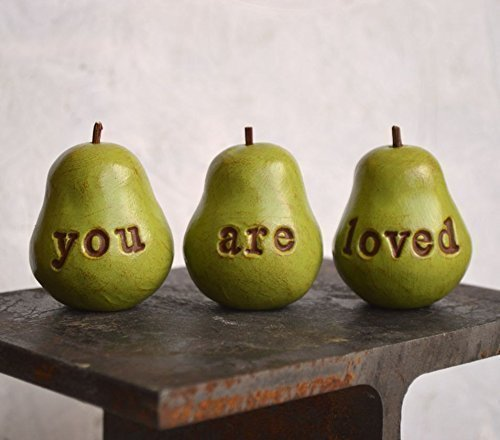 Green you are loved mini pears, set of 3