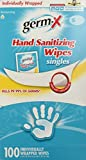 wrapped Germ-X Hand Sanitizing Single Wipes, Individually Wrapped, 100 Count