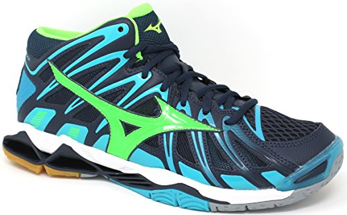 Mizuno Chaussures Volley Homme – Wave Tornado x2 Mid – v1ga1817 – 36 – Dress Blues/Green Gecko/Peacock blue-48.5