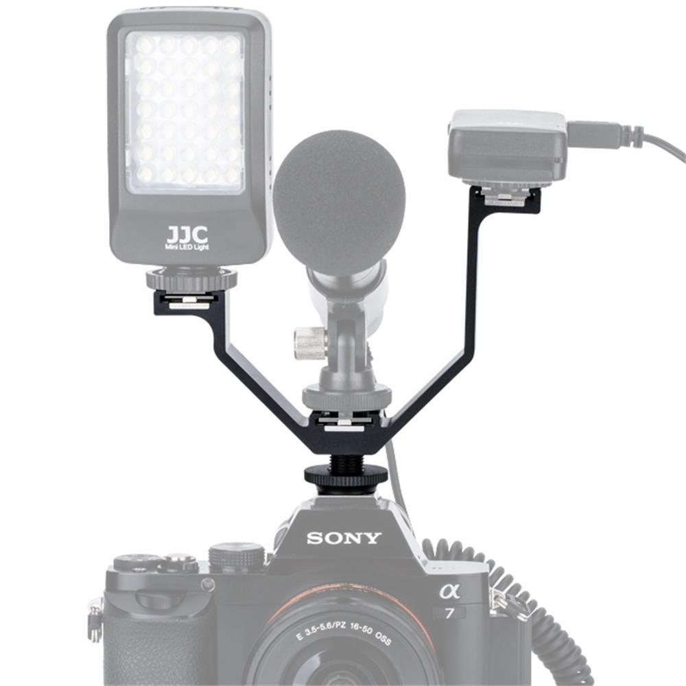 Kiwifotos 125mm Width 3 Mounts Triple Cold Shoe V Bracket Holder for Canon 77D 70D 800D 760D 750D Nikon D7500 D7200 D7100 D5400 Sony A7 A7S A7R Camera+ Microphone / LED Light / Remote Control Receiver