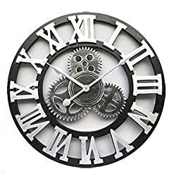 Wenzi-day Handmade Oversized 3D Retro Rustic Decorative Wooden Vintage Large Wall Clock on The Wall,Rome Silver,35cm