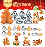 3D Christmas Scenario Cookie Cutters Set, 8 Piece Stainless Steel Biscuit Cutters Baking Molds, Christmas Tree, Snowman, Deer and Sled