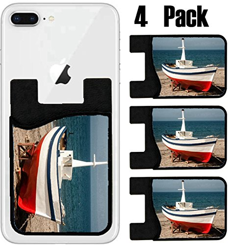 (MSD Phone Card holder, sleeve/wallet for iPhone Samsung Android and all smartphones with removable microfiber screen cleaner Silicone card Caddy(4 Pack) Wooden fishing boat spain IMAGE 25370052)