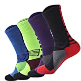 Men's Long Crew Socks Basketball Cushioned Dri-Fit Athletic Sport Compression Socks size 6.5-11.5(4Pack) (Style 2)