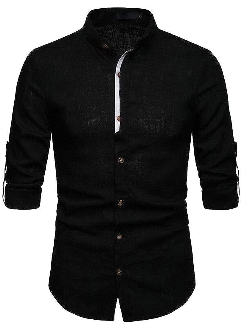 Fubotevic Mens Cotton Linen Long Sleeve Stand Collar Casual Business Slim Dress Work Shirt