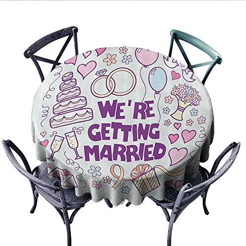 Wedding Decorations Customized Round Tablecloth were Getting Married Happy Celebration Ceremony Collection Doves Waterproof Circle Tablecloths (Round, 54 Inch, Purple Blue Pink)