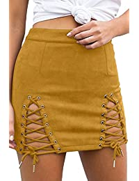 Womens Sexy High Waist Lace up Bodycon Faux Suede Split...