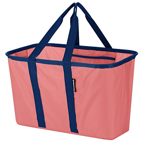 CleverMade SnapBasket Reusable Grocery Shopping Bag - Large Eco-Friendly Durable Collapsible Tote with Reinforced Bottom, Rose/Navy