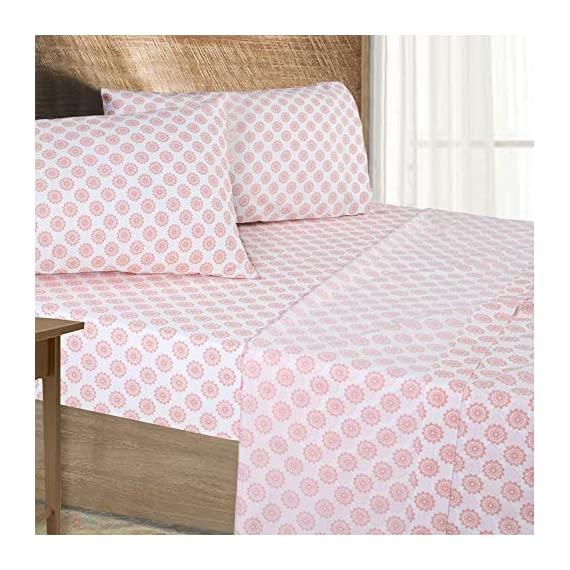 "Pieridae Cotton Rich 4 Pc Sheet Set - Queen, Coral Global Dots - 200-Thread-Count 55% Cotton 45% Polyester Sheet Set provides soft and smooth comfort for a blissful night's sleep Deep pockets fits mattress upto 12"" deep. Flat sheet with 3"" top hem. Pillow Cases with 3"" hem at opening. All around elastic for a snug feeling. Queen Size includes 1 Fitted Sheet 60 x 80"" and Fits Mattresses up to 12"" deep, 1 Flat Sheet 92 x 102"", 2 Pillowcases 20 X 30"" Machine wash cold, gentle cycle, wash separately or with like colors, do not bleach, tumble dry low, warm iron if needed. - sheet-sets, bedroom-sheets-comforters, bedroom - 51ccvTngjjL. SS570  -"