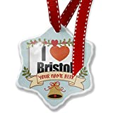 Add Your Own Custom Name, I Love Bristol region: South West England, England Christmas Ornament NEONBLOND