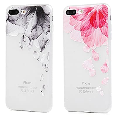 iPhone 7 Plus, iPhone 8 Plus Case, MOLLYCOOCLE Fashion Colorful Printed Black & Pink Flower Clear Hybird Bumper Soft TPU Case Back Cover Transparent Rubber Cushion Rubber Silicone Protectve Skin Cover