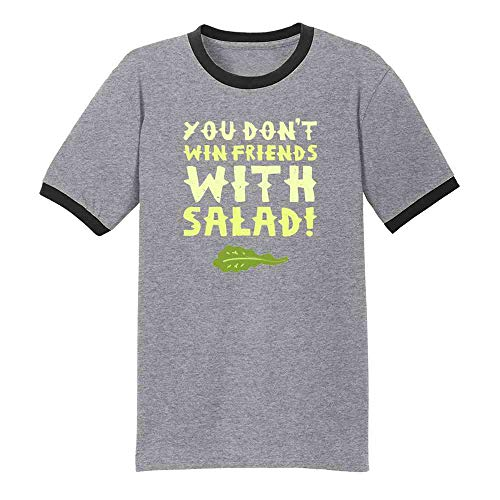 Pop Threads You Don't Win Friends with Salad Grey/Black XL Ringer T-Shirt