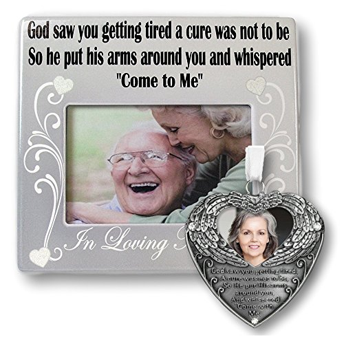 Pewter Angel Photo Frame Ornaments (Remembrance Frame and Photo Ornament Combo - God Saw You Getting Tired Saying - Memorial Christmas Ornament - Memorial Picture Frame)