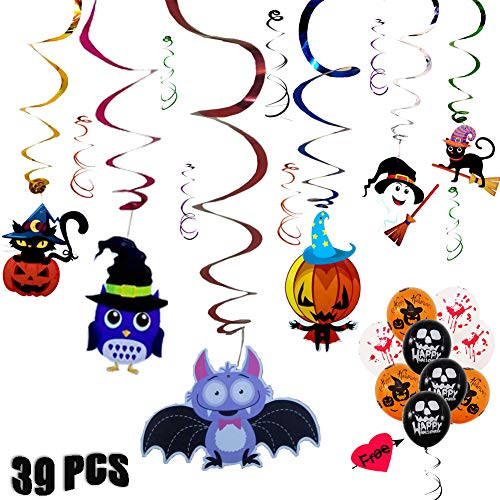39PCS Halloween Decorations Foil Swirl Balloon Set with Colored Foil Streamers - Halloween Party Favor Supplies for kids - Whirls Swirl Home Ceiling Hanging Decor with Creepy Creatures Balloons -