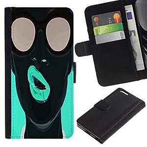 All Phone Most Case / Oferta Especial Cáscara Funda de cuero Monedero Cubierta de proteccion Caso / Wallet Case for Apple Iphone 6 PLUS 5.5 // Pop Art Neon Girl