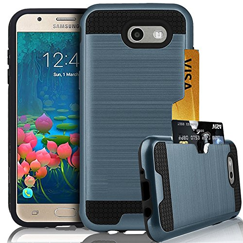 Navy Blue Card Holder (Galaxy J7 Prime Case, Galaxy J7 Perx Case, Galaxy J7 V Case, Galaxy J7 2017 / Galaxy Halo Case,Jwest [Card Holder] Drop Protection Hybrid Armor Defender Protective Case Cover, Navy Blue)