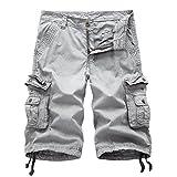 Vivi-Men with Pockets Fine Cotton Straight-Fit Plus-Size Boardshort Grey 33