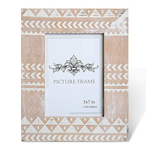 BOLUO Indian Boho Picture Frames 5x7 Rustic Moroccan Photo Frame Distressed White Chevron Wood Decor India (Chevron Pictures)