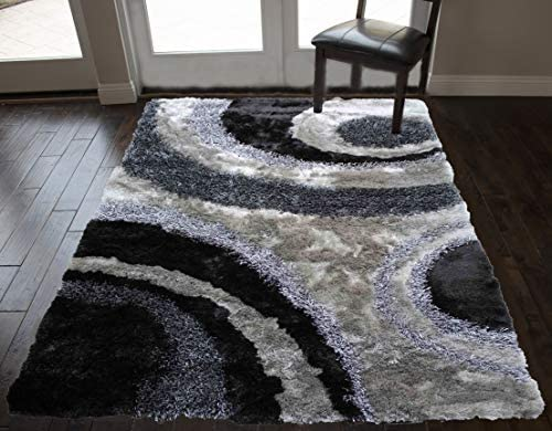 8×10 Feet 3D Gray Grey Charcoal Colors Soft Shag Shaggy Fluffy Fuzzy Furry Hand-Woven Decorative Designer Modern Contemporary Smooth Non-Skid Living Room Area Rug Carpet Rug Bedroom Living Room