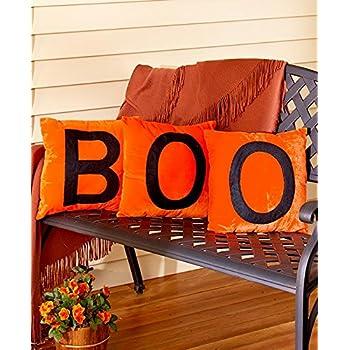 Set of 3 Halloween Pillows (Orange Boo)