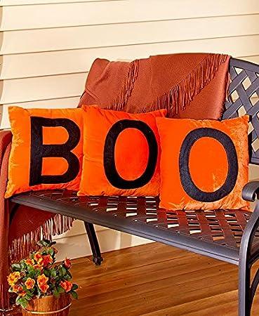 set of 3 halloween pillows orange boo - Halloween Pillows