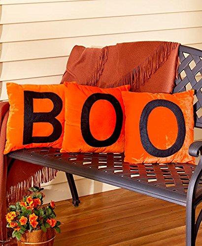 LS Orange Fall Halloween Boo Velvet Throw Pillows 3 PC Set Home Decor ()