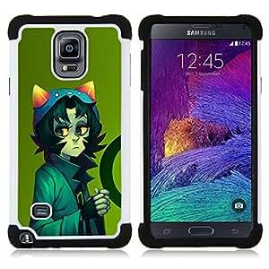 BullDog Case - FOR/Samsung Galaxy Note 4 SM-N910 N910 / - / Cute Cat Sci Fi Character /- H??brido Heavy Duty caja del tel??fono protector din??mico - silicona suave