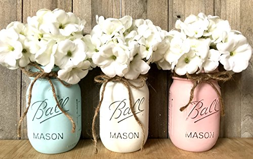 (Painted Mason Jars, Baby Shower Centerpiece, Shabby Chic Mason Jars, Country Decor, Farmhouse Jars, Mason)