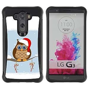 Suave TPU GEL Carcasa Funda Silicona Blando Estuche Caso de protección (para) LG G3 / CECELL Phone case / / Owl Winter Elf Hat Red White Drawing Art Candy /