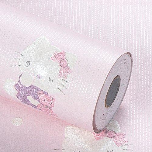 3次元の子供部屋の壁紙、女の子の青いピンクの猫の壁紙、漫画の寮のベッドルーム、3次元自動接着性の壁紙、不織布 (50米, ピンク) B072JCSRD5 50米|ピンク
