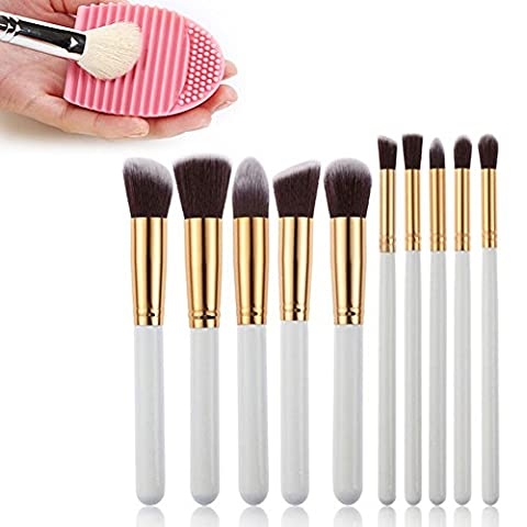 White Professional Makeup Brushes, 10 Piece Set,