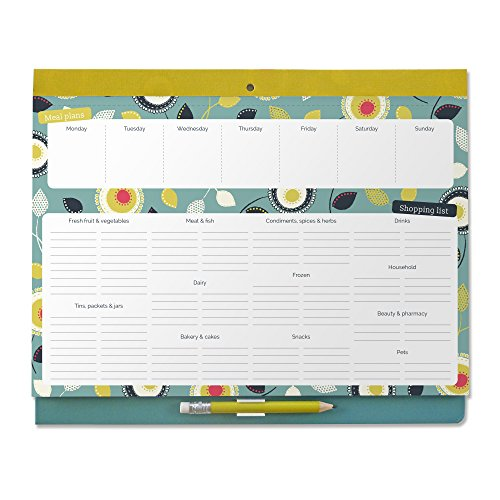 Boxclever Press Big Meal Planner & Magnetic Refrigerator Grocery List. Nearly US Letter size. Perforated shopping list pad with useful headings & weekly menu planner. Pocket for coupons. ()